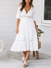 Load image into Gallery viewer, V-Neck Lace Trumpet Sleeve Dress