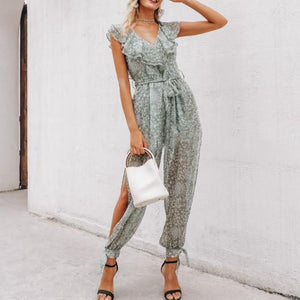 Fashion Sexy V-Neck Printed   Halter Holiday Long Jumpsuit