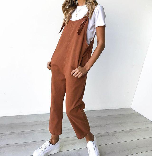 Casual Button Waist Waist Jumpsuit