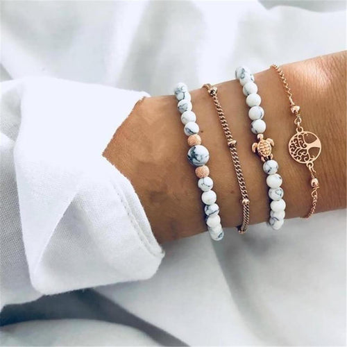 Fashion White Turquoise Turtle Bracelet