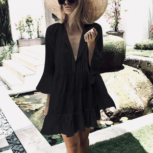 Cotton Pleated Button Trumpet   Sleeves Seaside Holiday Loose Dress