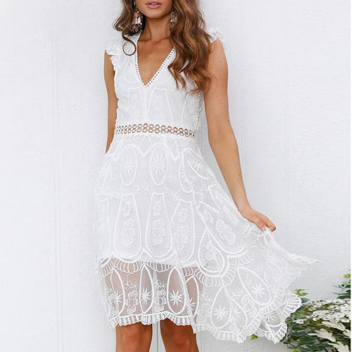 Temperament Deep V Lace Backless Dress Female