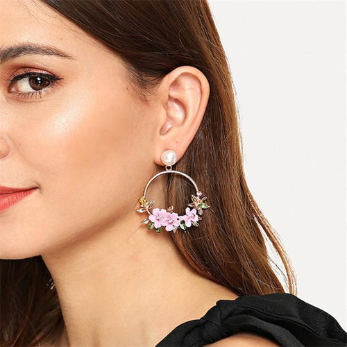 Colour Resin Inlaid Drill Flower Inlaid Pearl Earrings