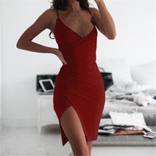 Load image into Gallery viewer, Summer Sexy V-Neck Sling Tight-Fitting Irregular Dress