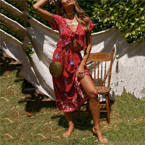 Summer Printed Vacation Bohimia Ethnic Style Two-Piece Dress