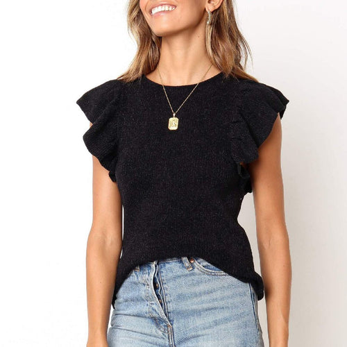 Summer Fashion Ruffled Slim Knit Top
