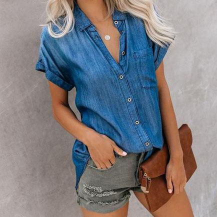 Short Sleeve Lapels Solid Color   Denim Shirt Single-Breasted Top