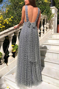 Backless Sleeveless  Sexy Deep V Neck Maxi Dress