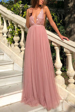 Load image into Gallery viewer, Deep V Sexy Chiffon Backless Maxi Dresses