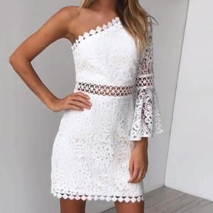 Slanted Shoulder Lace Bag Hip Temperament Mini Dress(Video)