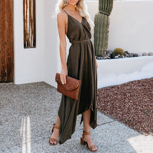 2019 Summer New Sexy Halter Strap Irregular Dress