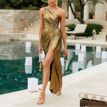Load image into Gallery viewer, Asymmetrical Low-Key Gorgeous Gold Dress