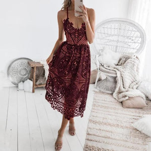 Sexy Lace Openwork Strap Solid   Color Dress