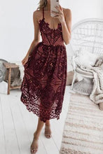 Load image into Gallery viewer, Sexy Lace Openwork Strap Solid   Color Dress