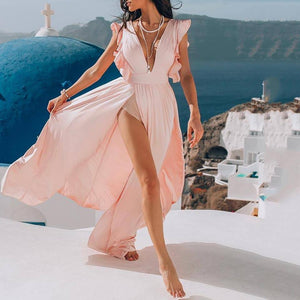 Fashion Sexy Deep V Split Dress