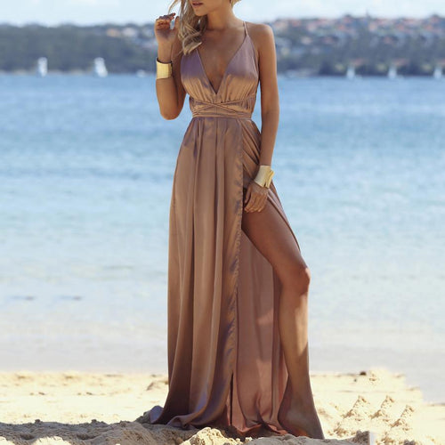 Fashion V-Neck Sexy Backless   Solid Color Dress