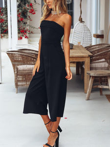 Sexy Sleeveless Off Shoulder Solid Color Wrapped Chest Slim Jumpsuit