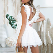 Load image into Gallery viewer, Fashion Solid Color V-Neck   Stitching Lace Bow Mini Dress