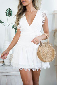 Fashion Solid Color V-Neck   Stitching Lace Bow Mini Dress