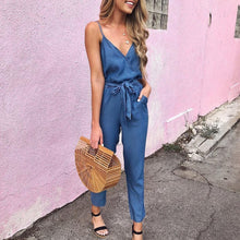 Load image into Gallery viewer, Summer Spaghetti Strap Wrap Top Tie Waist   Casual Jumpsuit