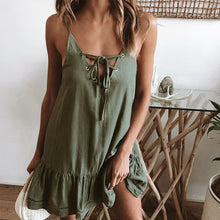 Load image into Gallery viewer, Summer Spaghetti Strap A-Line Tie Front Ruffle Casual Dress