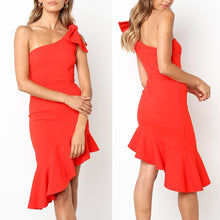 Load image into Gallery viewer, Cold Shoulder Bodycon Vacation Ruffle Dress