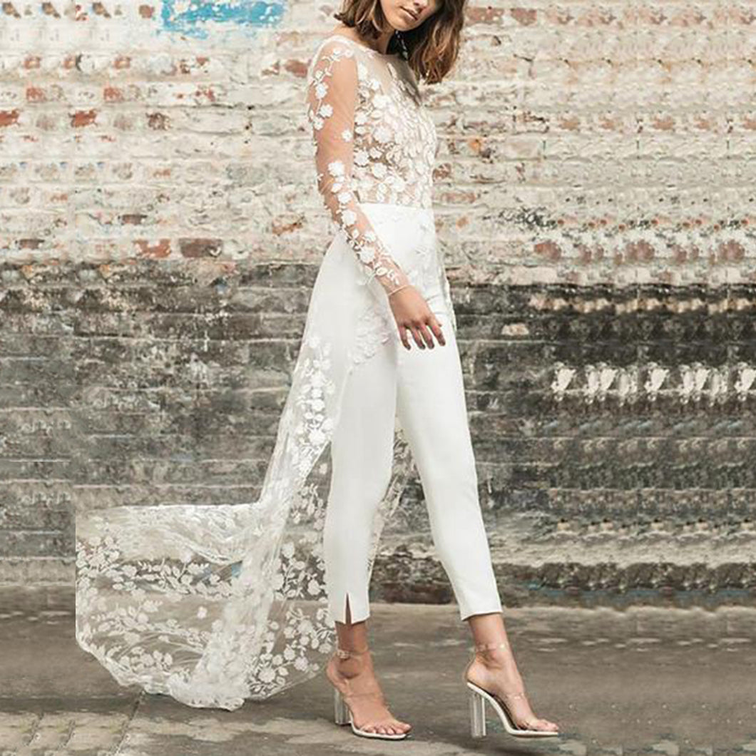 Perspective Lace Front Short Long Dress