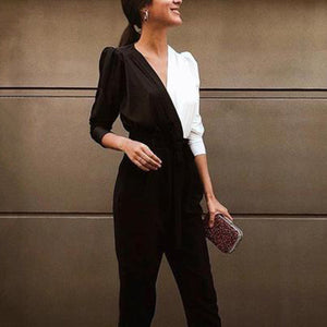 Fashion Casual Splicing Jumpsuit
