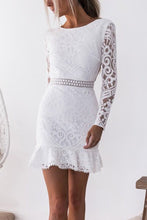 Load image into Gallery viewer, Fashion Lace Backless Long Sleeve Mini Dress