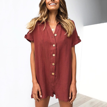 Load image into Gallery viewer, Summer Casual Loose Button Romper