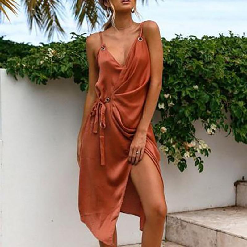 Fashion Sleeveless Plain Casual Vacation Dress