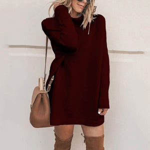 Fashion Stand Collar Casual Sweater Dress