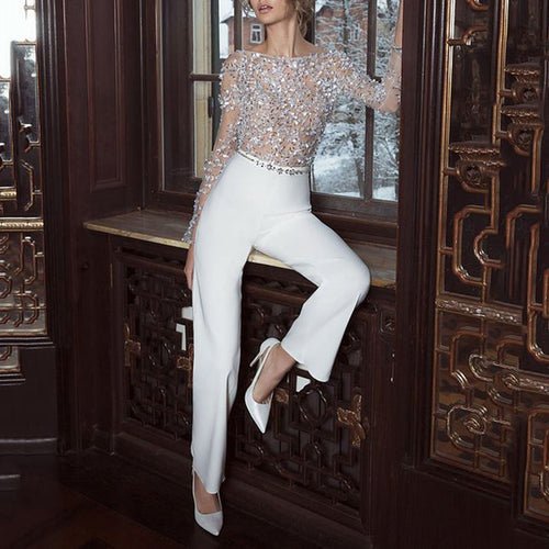 Simple Temperament OL Wind Sequined Piece Jumpsuit
