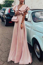 Load image into Gallery viewer, Sexy Pink Short Sleeves V Neck Maxi Dress