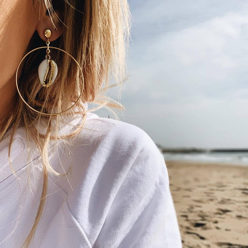 Summer Style Big Circle Earrings Personality Beach Natural Gold-Plated Shell Eardrop