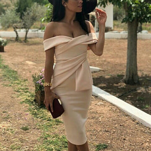 Sexy Apricot Off Shoulder Short Sleeves Bodycon Dress