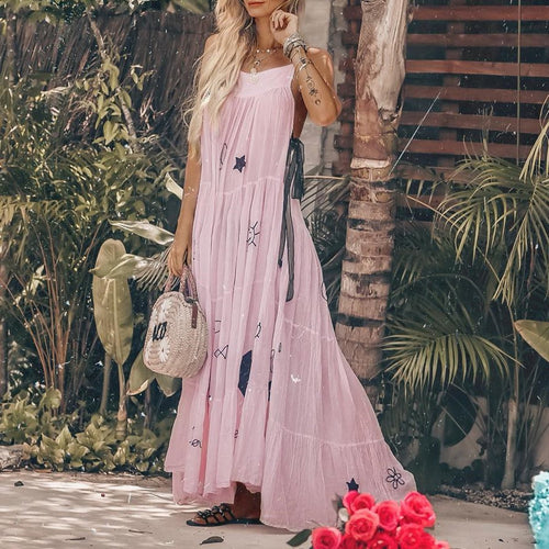 Sexy Fashion Sleeveless Floral Print Vacation Maxi Dress