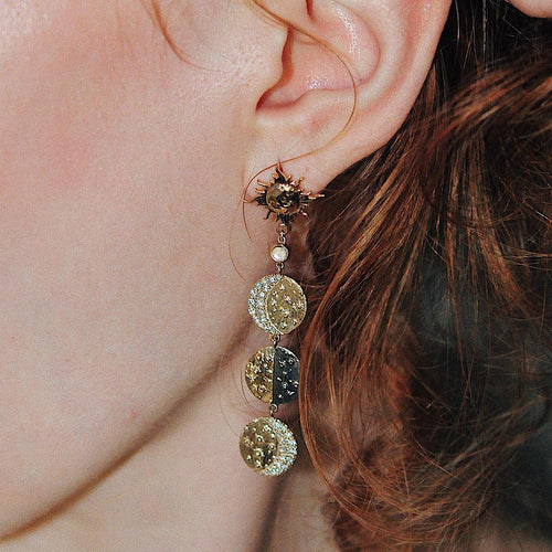 Sun Moon Long Eardrop Fashion Earrings