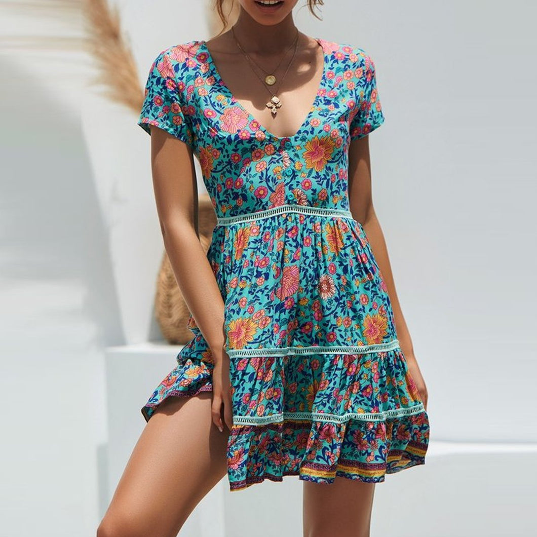 Bohemia Style V Collar Floral Printed Vacation Dress
