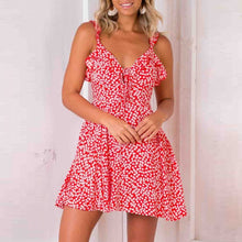 Load image into Gallery viewer, Spaghetti Strap  Backless  Floral Printed  Sleeveless Casual Dresses