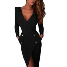 Load image into Gallery viewer, Deep V-Neck Halter Dress Long Sleeve Irregular Hem Split Tight Bodycon Dress