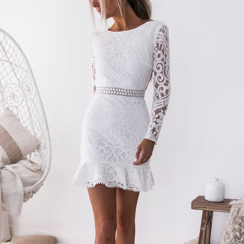 Fashion Lace Backless Long Sleeve Mini Dress