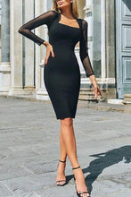 Load image into Gallery viewer, Fashion Mesh Stitching Hip Bodycon Dress