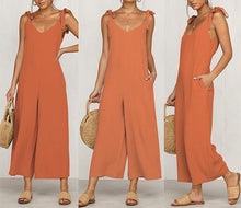 Load image into Gallery viewer, Open Back Sleeveless Sling   V-Neck Straps Jumpsuit