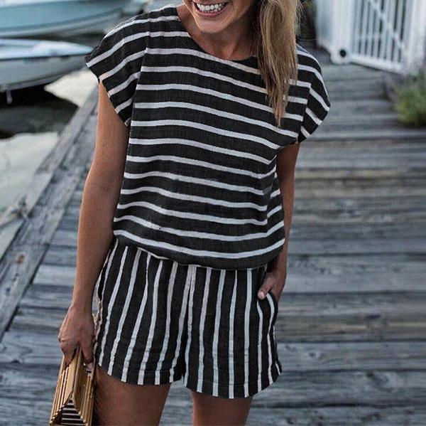 Fashion Round Collar Defined Waist Striped Loose Rompers