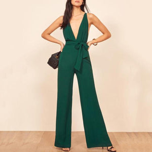 Sexy Cross Backless Deep V   Jumpsuit
