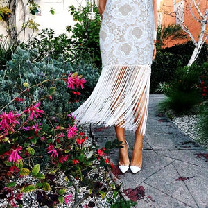 Sexy Wrapped Chest Lace   Embroidered Tassel Dress
