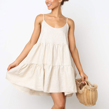 Load image into Gallery viewer, Summer Spaghetti Strap A-Line Ruffle Casual Mini Dress