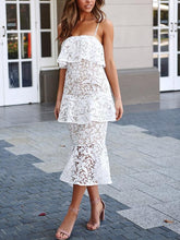 Load image into Gallery viewer, Solid Color Lace V-Neck Off-Shoulder Design Slim Dress