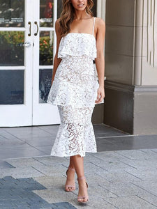 Solid Color Lace V-Neck Off-Shoulder Design Slim Dress